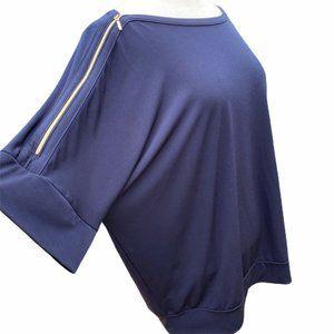 Chicos Top Navy Blue Slinky Boat Neck Zip Shoulder